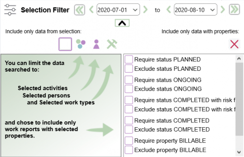 The PlanMinder Help - Filter + extra